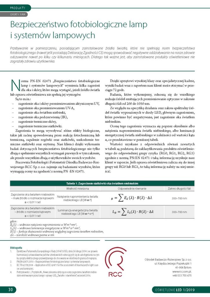"""RCC sp. z o.o. - artykuł czasopismo """"Oświetlenie LED""""- bezpieczeństwo fotobilogiczne lamp i systemów lampowych"""